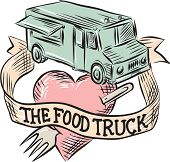 "Etching engraving handmade style illustration of a food truck with heart pierced by a fork with ribbon in front and words ""the food truck"" set on isolated white background viewed from high angle. poster"