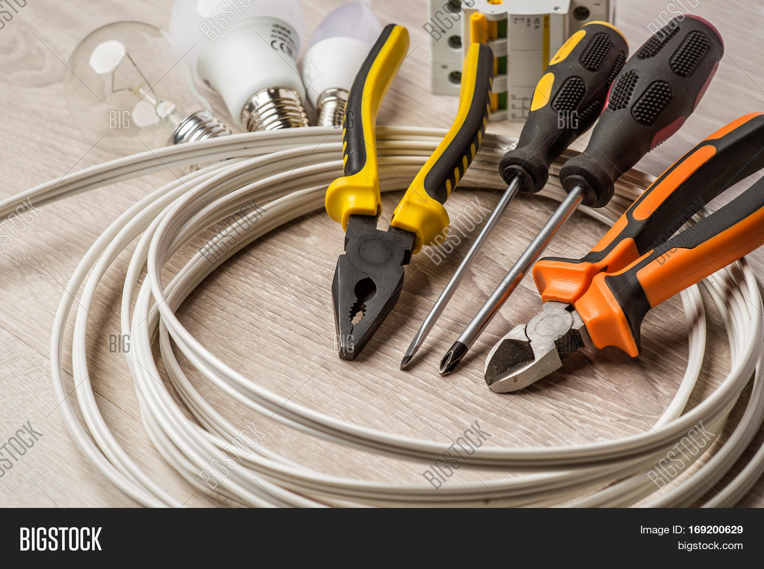Set Tools Electrician Image Photo Free Trial Bigstock Cable Wiring A Of Coil Wire And Equipment On White Background
