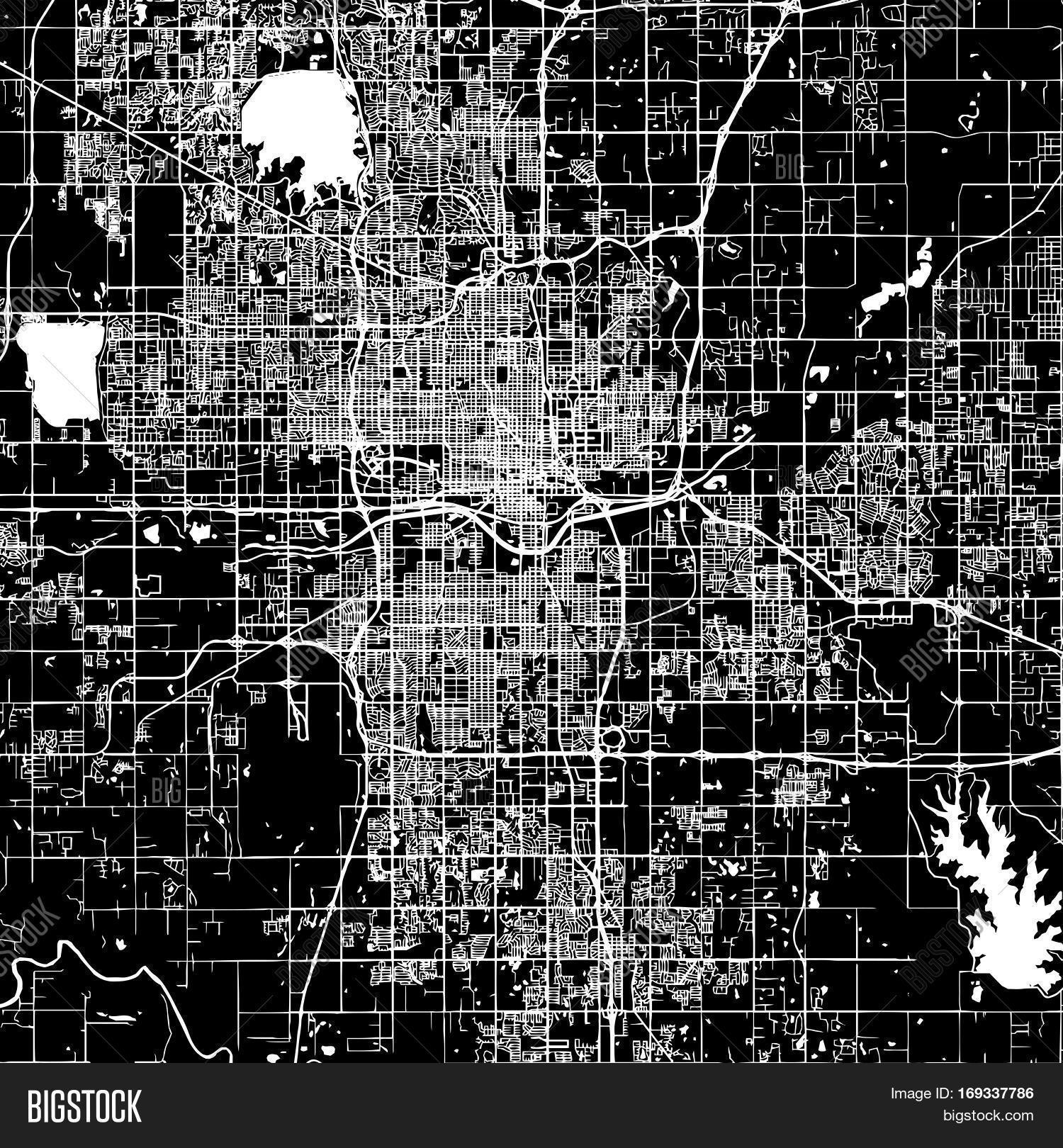 Oklahoma city vector map artprint black landmass white water and roads