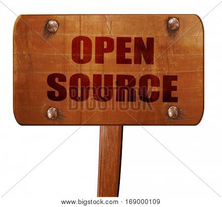 open source, 3D rendering, text on wooden sign