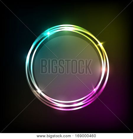 Abstract background with colorful neon circles banner, stock vector