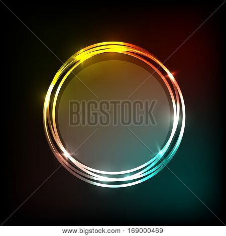 Colorful neon circles banner abstract background, stock vector