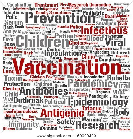 Concept or conceptual children vaccination or viral prevention square word cloud isolated on background metaphor to infectious antigenic, antibodies, epidemiology, immunization or inoculation