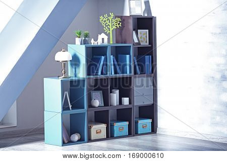 Wooden shelving with books in room