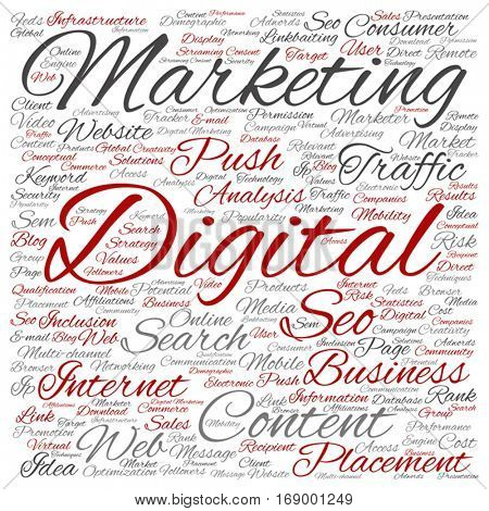 Vector concept or conceptual digital marketing seo or traffic square word cloud isolated on background metaphor to business, market, content, search, web, push, placement, communication or technology