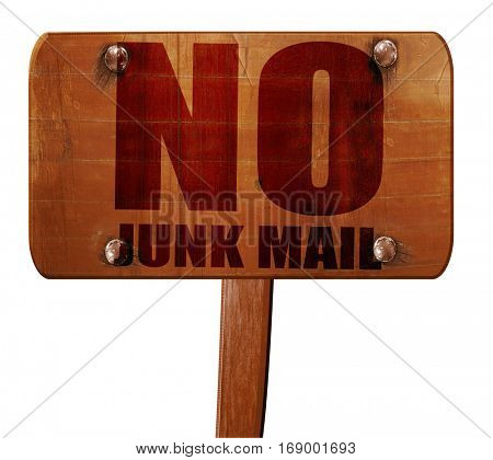no junk mail, 3D rendering, text on wooden sign