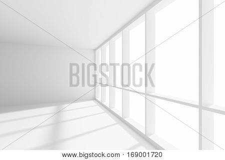 Business architecture white colorless office room interior - empty white business office room with white floor ceiling and walls and sunlight from wide large window 3d illustration