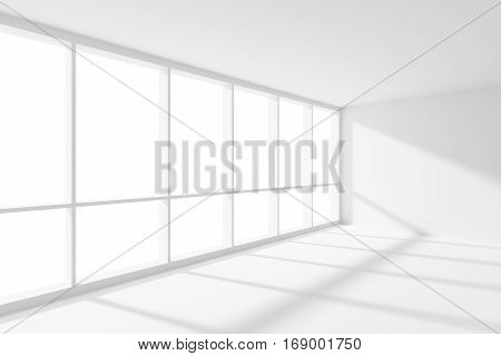 Business architecture white colorless office room interior - empty white business office room corner with white floor ceiling and walls and sunlight from large window 3d illustration