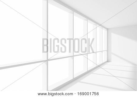 Business architecture white colorless office room interior - large window inempty white business office room with white floor ceiling and walls and sun light 3d illustration.