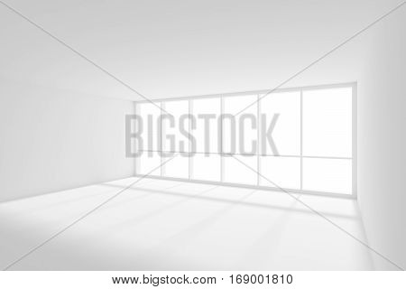 Business architecture white colorless office room interior - empty white business office room with white floor ceiling and walls and sun light from big window 3d illustration