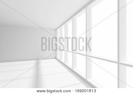 Business architecture white colorless office room interior - big window in empty white business office room with white floor ceiling and walls and sunlight 3d illustration