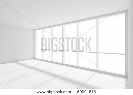 Business architecture white colorless office room interior - large window with sunlight in empty white business office room with white floor ceiling and walls 3d illustration
