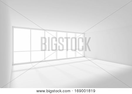Business architecture white colorless office room interior - white empty business office room with white floor ceiling and walls and sunlight from wide large window 3d illustration