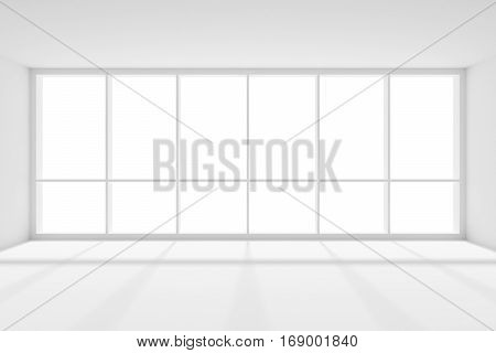 Business architecture white colorless office room interior - large window white empty business office room with white floor ceiling and walls and sunlight 3d illustration