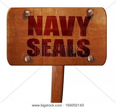 navy seals, 3D rendering, text on wooden sign
