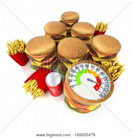 3D rendering of A weigh scale with indicator on red zone and huge amount of junk food