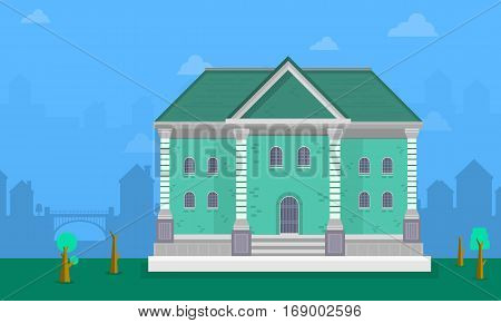 Big house landscape vector flat collection stock