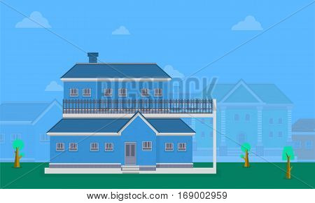 Vector flat of big house collection stock