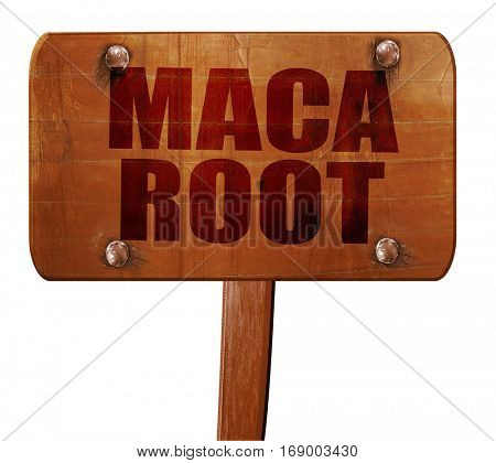 maca root, 3D rendering, text on wooden sign