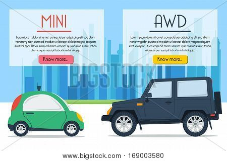 Vector banner of two cars - small mini and huge all wheel drive on city background in flat style with text blocks. Drive comparison