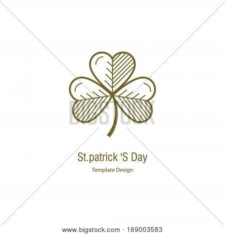 St.Patrick s Day. Simple illustrations in linear style.