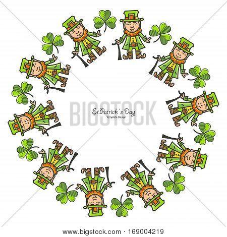 St.Patrick s Day. Frames with festive symbols. Shamrock Leprechaun