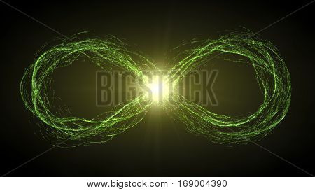 endless loop of moving energy particles. infinity symbol with energy trails.. green version.