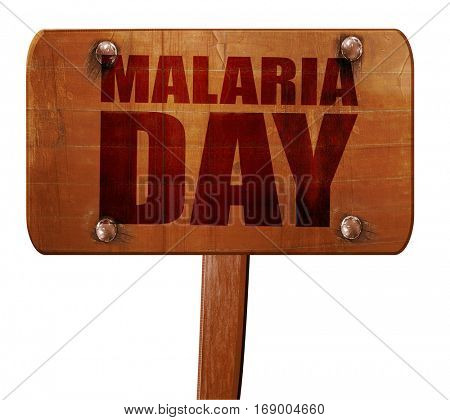 malaria day, 3D rendering, text on wooden sign