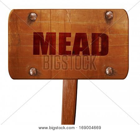 mead, 3D rendering, text on wooden sign