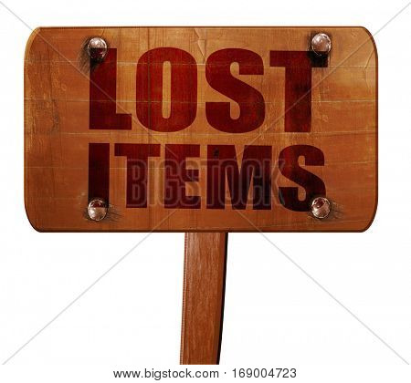 lost items, 3D rendering, text on wooden sign