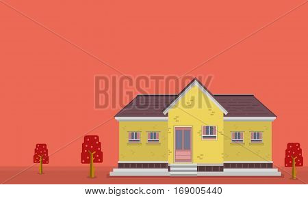Landscape of yellow house vector flat collection stock