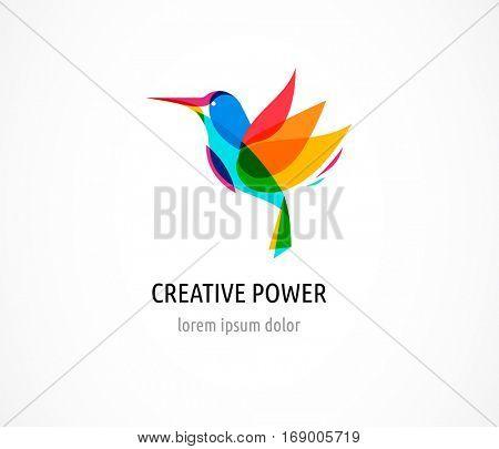 Hummingbird, Creative, digital abstract and bird colorful icon