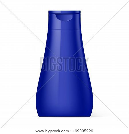 Violet Plastic Bottle Shampoo Packaging Isolated at White Background