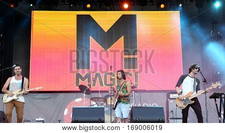 LAS VEGAS-SEP 20: Musical group Magic! performs in concert at the iHeartRadio Music Festival Village Show at MGM Resorts Village on September 20, 2014 in Las Vegas, Nevada.