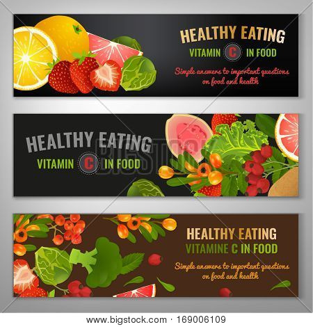 Vitamin C in food. Beautiful vector illustration with different vegetabes, fruits and berries. Landscape banners set in bright colours on dark grey and brown backgrounds.