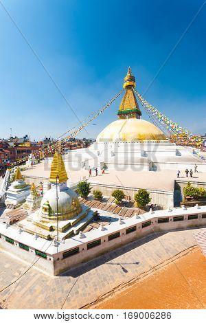 Boudhanath Stupa People High Angle View V