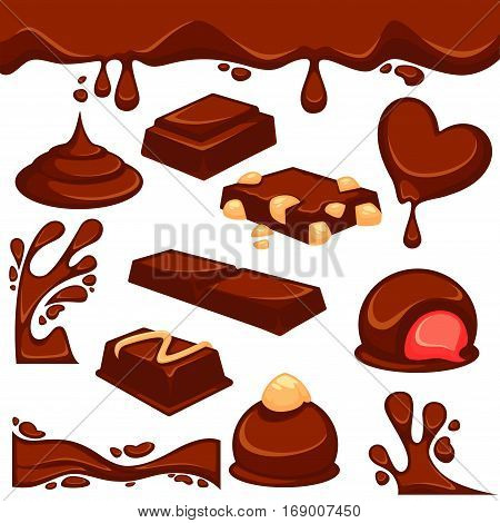Vector icons of sweet choco fondant or cocoa pastry products with nut or cream filling. Chocolate dripping splash drops and confectionery desserts of truffle candy bars and confections.
