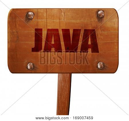 java, 3D rendering, text on wooden sign