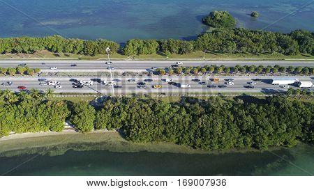 Aerial stock photo Julia Tuttle Causeway Miami Beach FL