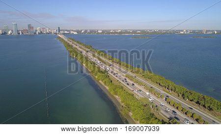 Aerial image Julia Tuttle Causeway Miami FL, USA