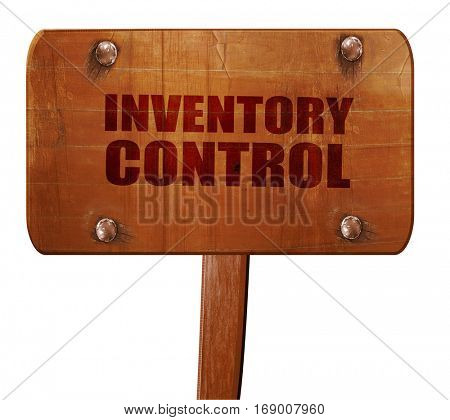 inventory control, 3D rendering, text on wooden sign