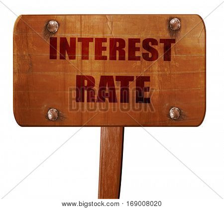 Roadsign of higher interest rates ahead against blue sky, 3D ren