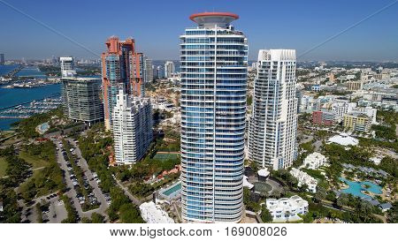 Highrise residential architecture in Miami Beach Florida