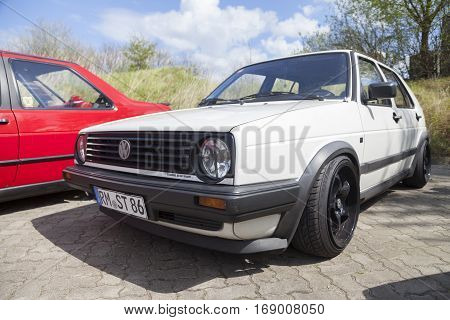 ALTENTREPTOW / GERMANY - MAY 1 2015: german volkswagen golf II car stands on parking area at oldtimer show on may 1 2015 in altentreptow germany.