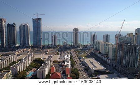 Stock aerial image of Sunny Isles Beach FL USA