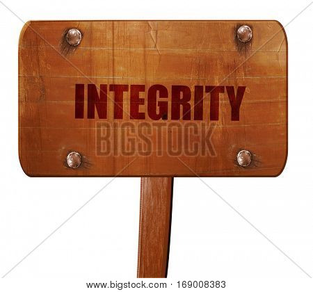 integrity, 3D rendering, text on wooden sign