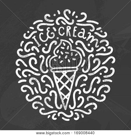 Ice cream chalk style doodles. Vector hand drawn illustration