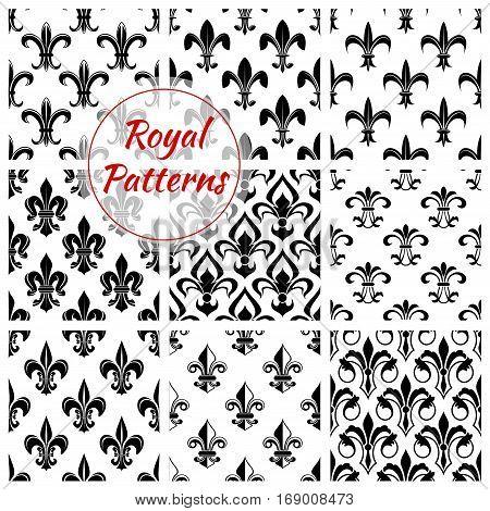 Fleur-de-lis flower floral pattern set of fleur-de-lys royal lily flower tracery. Vector background of heraldic flowery ornament and flourish ornamental embellishment backdrop for interior design. Imperial flourish ornate motif tiles