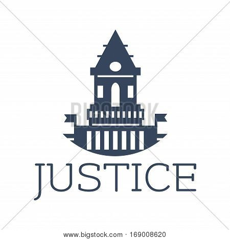 Juridical or law icon with old justice court town hall or castle for advocacy, legal center or lawyer or prosecutor. Vector emblem or badge with symbol of roman atrium, flags for attorney or notary, barrister right assistance center