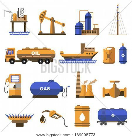 Oil and gas icons set. Symbols of refinery industry: offshore platform for petroleum extraction, truck and ship transportation, tanker, pipe and canister. Flat vector illustrations isolated on white